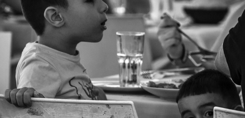 Children enjoying lunch, Old Port Tel Aviv